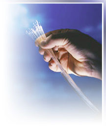 hand with fiber optic cable