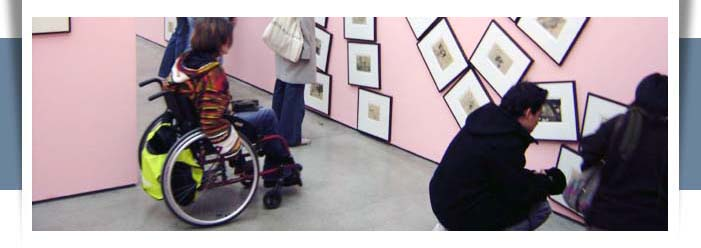 wheelchair user at museum display